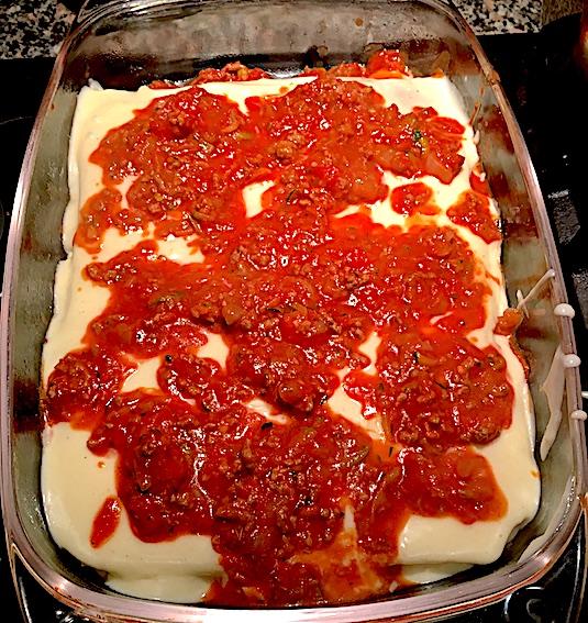 Lasagne med squash og gulerødder undervejs