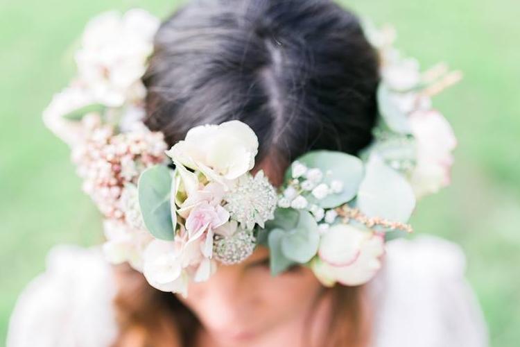 couronne fleurs mariage reflets fleurs