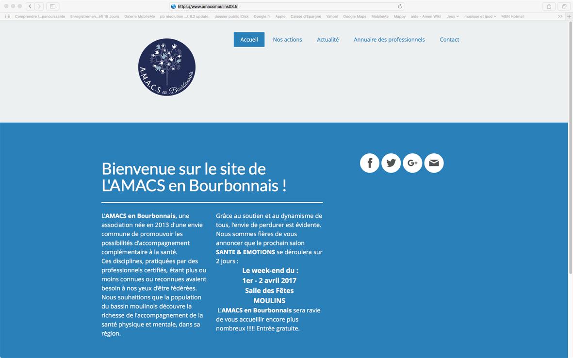 Aperçu de la page d'accueil du site AMACS