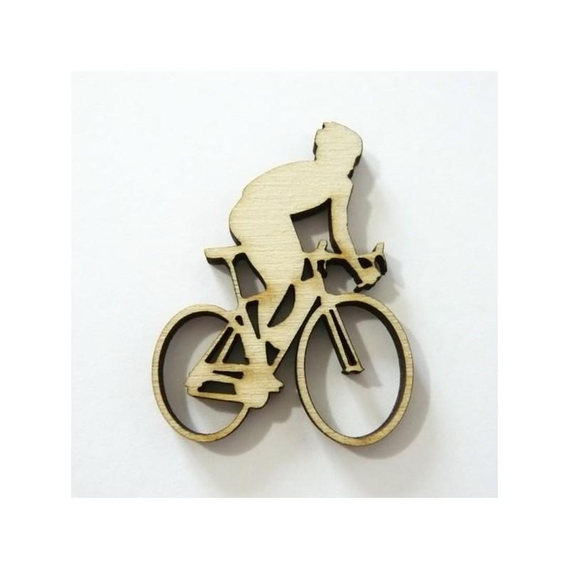 Cycliste Sur Vlo En Bois Dcoup Et Grav