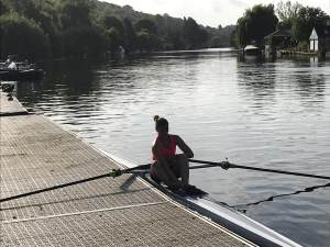 Reading Chiropractor Beccy Norman rowing sculling