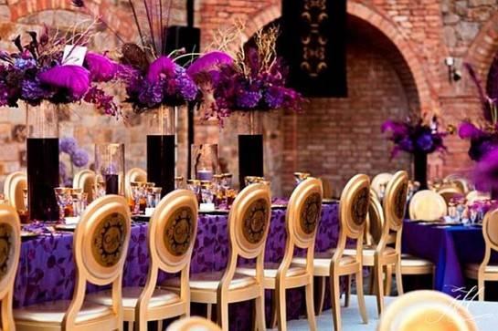 Máxima sofisticación en violeta y dorado