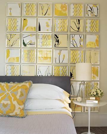 Habitación con detalles y decoración en gris y amarillo
