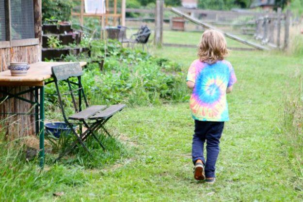 Vorbei am Kaninchenstall zur Erdbeerernte im Gemüsegarten - inmitten der Schafswiese