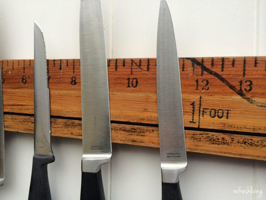 Vintage Ruler Magnetic Knife Rack