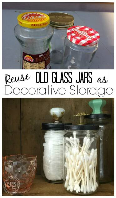 Reuse Old Glass Jars For Bathroom Organization Refresh