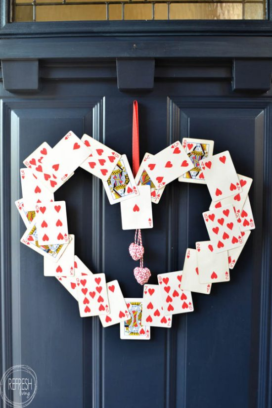DIY Valentines Wreath From Old Playing Cards Refresh
