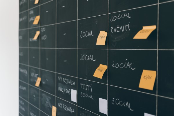 Social media content plan - post it notes on board