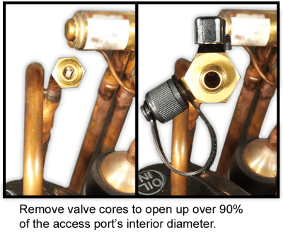 restrictive access valve cores