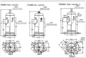 R410A Hitachi Scroll Compressor , hermetic refrigeration pressor E605DH59D2YG with 60020BTU  H