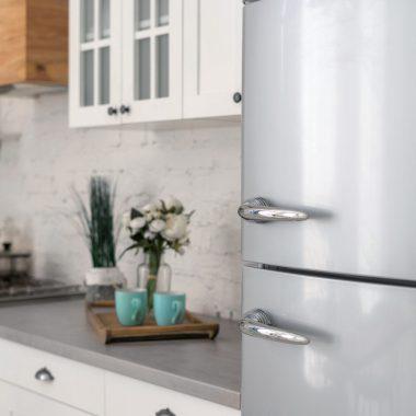 grey stainless refrigerator