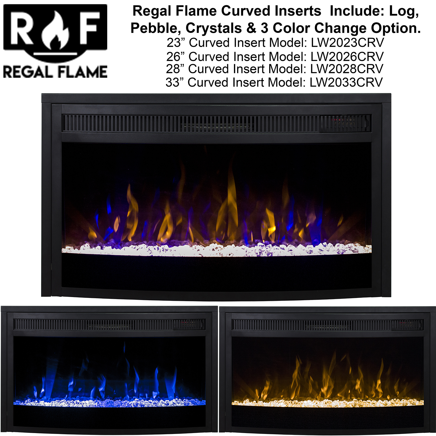33 Inch Curved Ventless Heater Electric Fireplace Insert