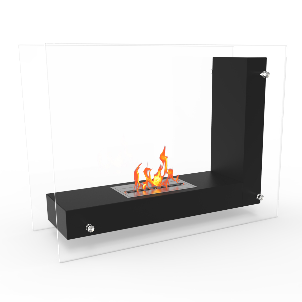 Avec Ventless Free Standing Ethanol Fireplace In Black