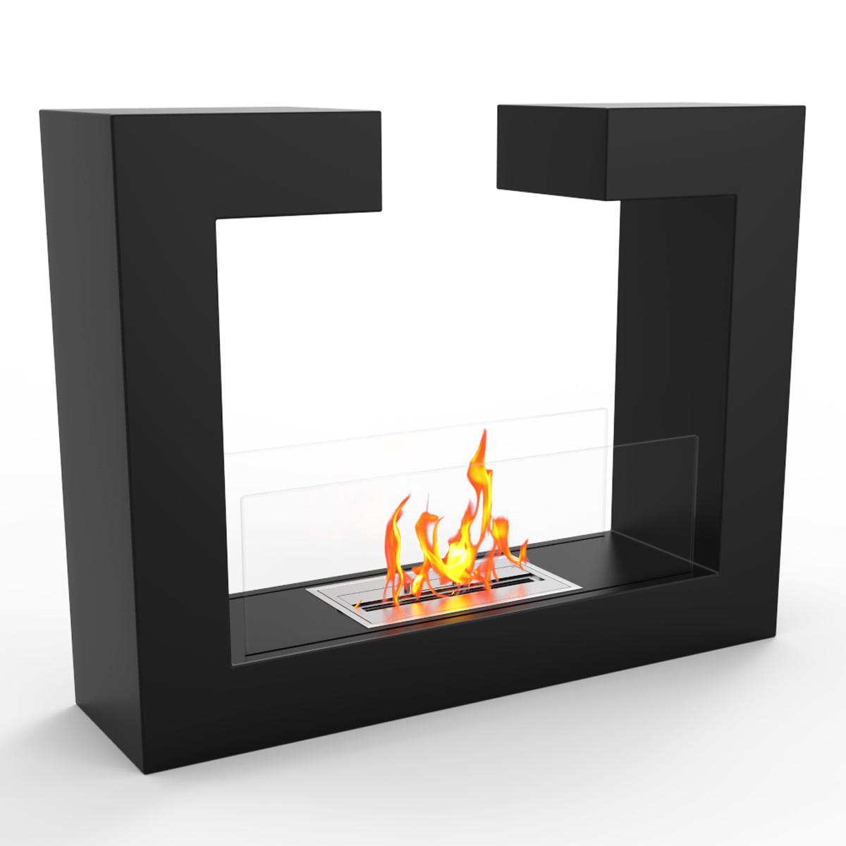 Vinci Ventless Free Standing Ethanol Fireplace In Black