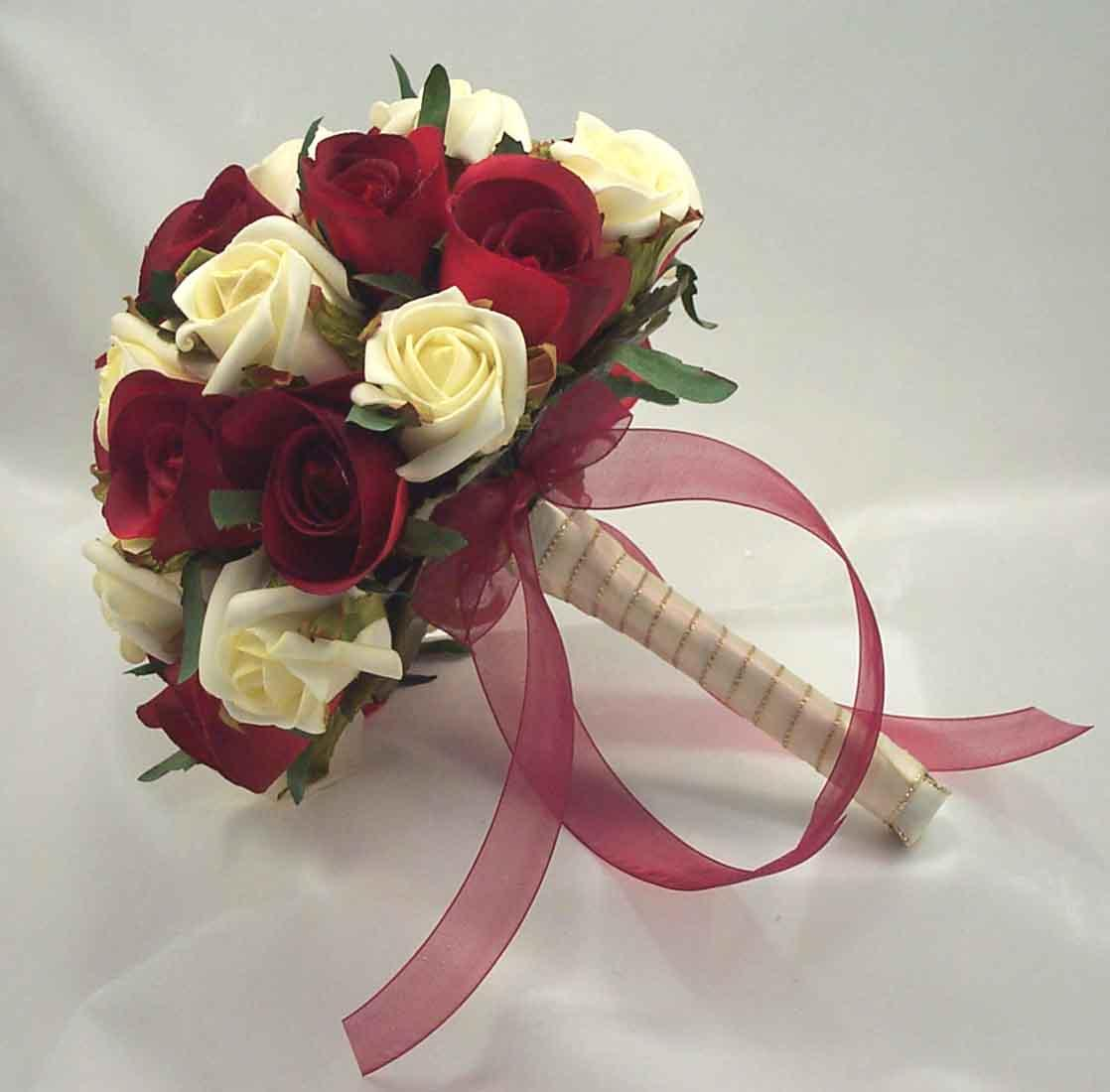 Bridal Bouquet 105 Red And White Roses Select Size