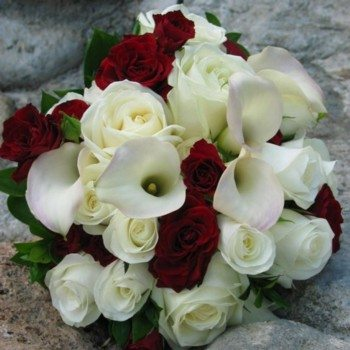 Bridal Bouquet 108 White And Red Roses With Mixture Of Calla