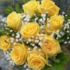 yellow roses, and million star (gypsophilia) flowers.