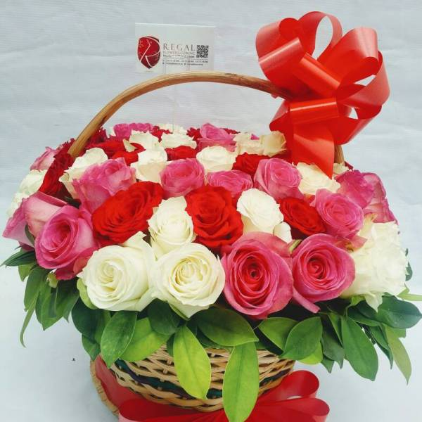 red white and pink roses