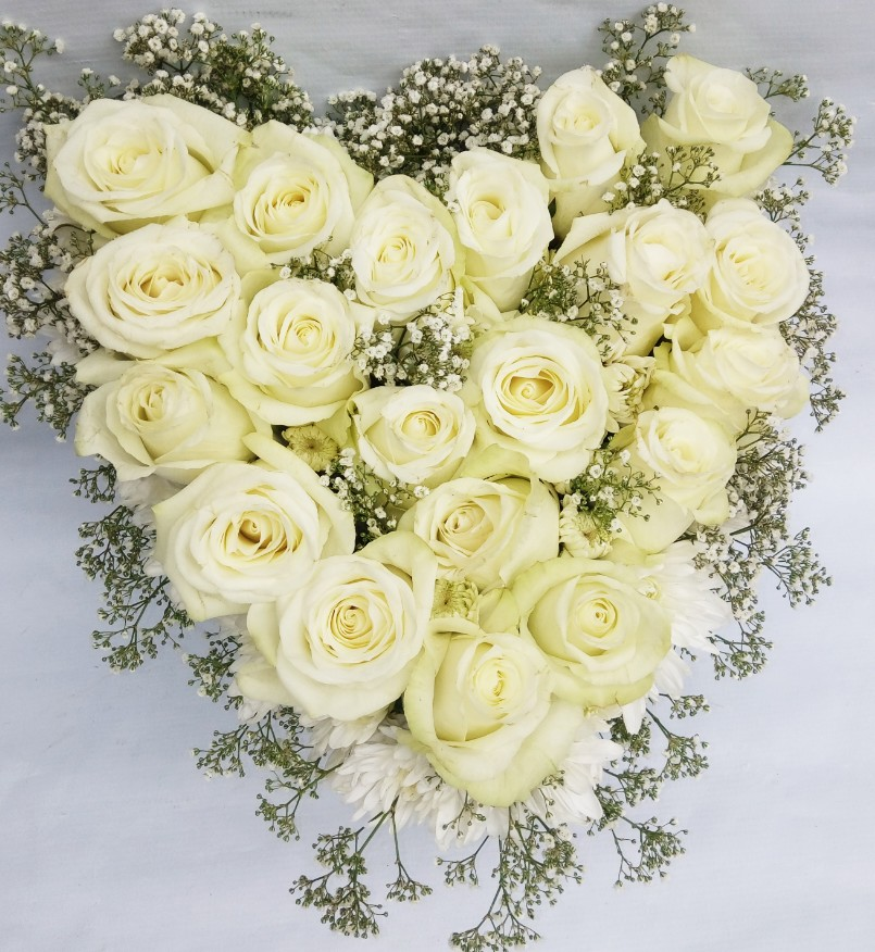 Bridal Bouquet 139 - Heart Shaped Bouquet with Gypsophila, Roses ...