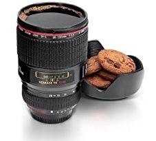 tazza a forma di obbiettivo macchina fotografica
