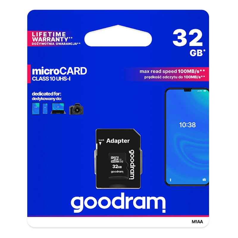 Tarjeta de memoria Goodram Micro SD 32GB M1AA C10 con adaptador