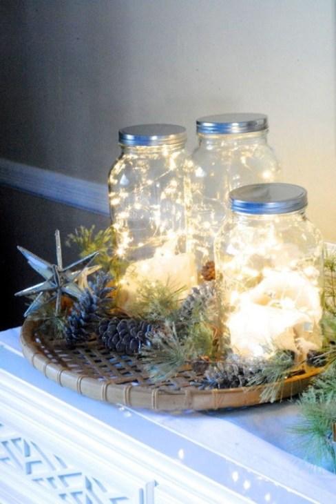 Luces navideñas Led en tarros Mason Jars.