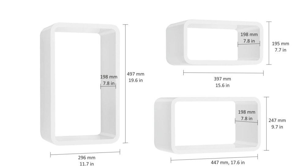 longcube etagere murale cube set 3 pieces blanc laque