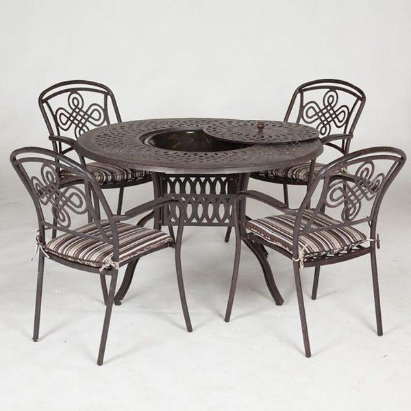 aluminium garden furniture sets Brompton Cast Aluminium Ice And Fire Set For 4 - Regatta
