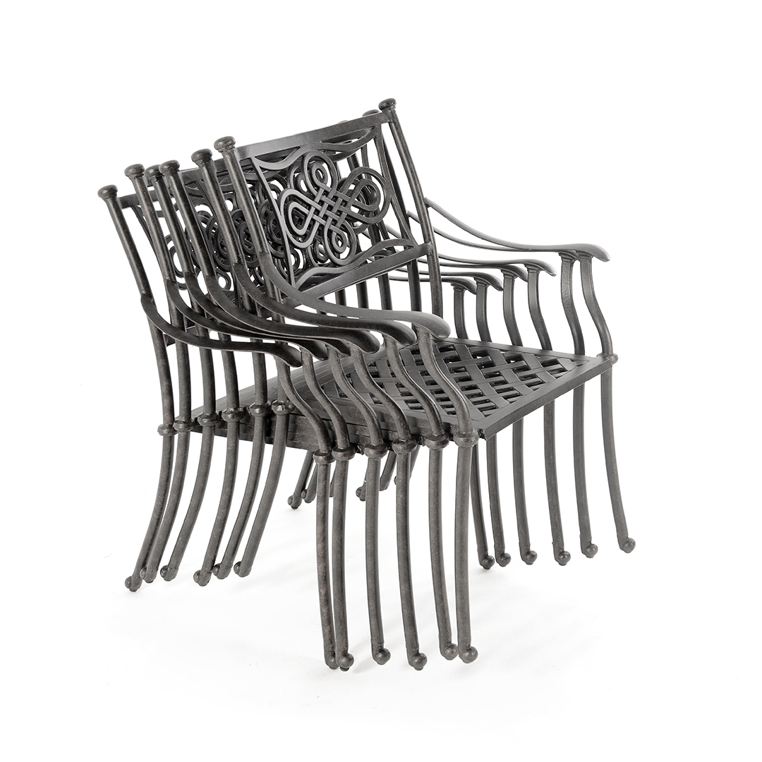 Cast Aluminium Bistro Table 28 Inch With 2 Knot Chairs