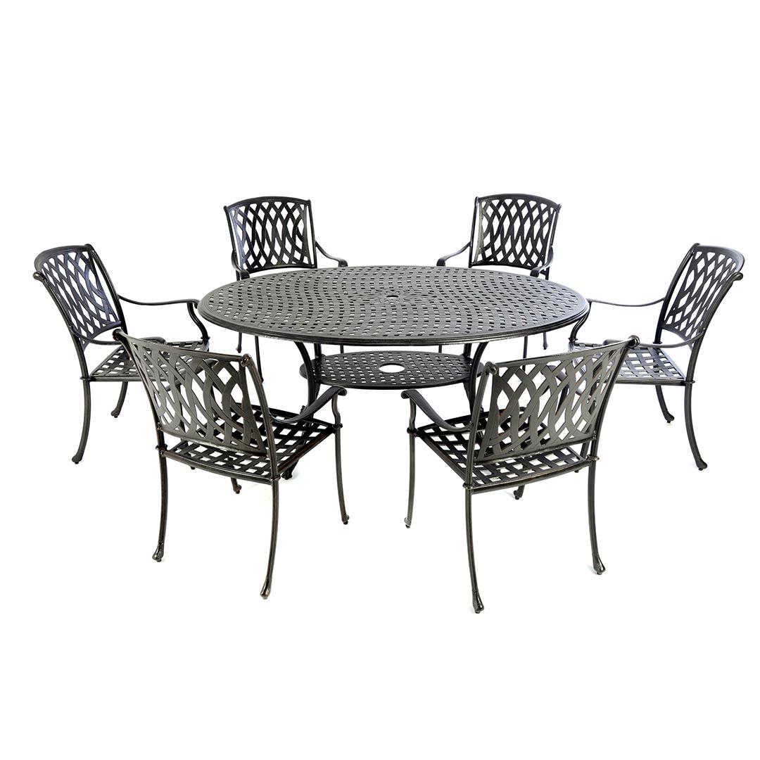 Cast Aluminium 170 Oval Table With 6 Venetian Chairs