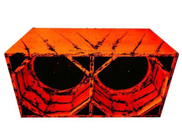 "Cod 447 - Box Canhão 2x15"" - Laranja com Preto"