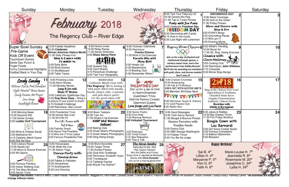 February Calendar 2018 Rivers Edge