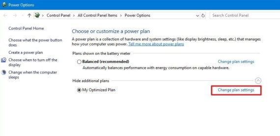 Change Windows 10 Power Plan