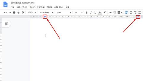 Change left and right margins Google Docs