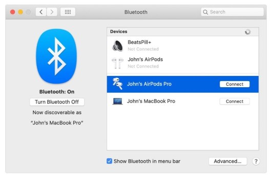Connect AirPods to MacBook with iCloud