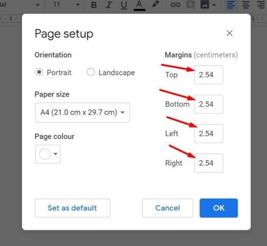 Setting all margins on Google Docs