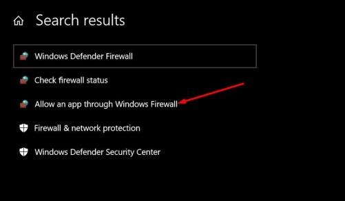 Firewall settings on Windows 10