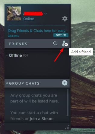 Add a Friend icon on Steam