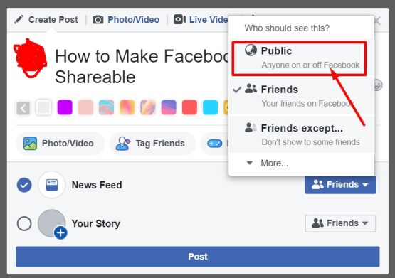 Make a Facebook Post Shareable via Website