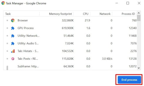 Chrome Built in Task Manager