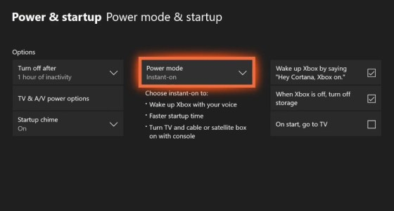 Instant-On Feature on Xbox One