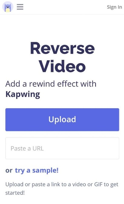 Visit Kapwing Reverse Video