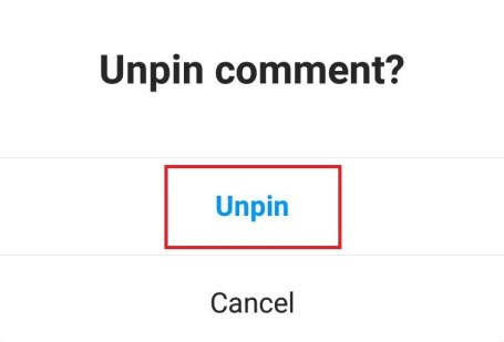 Tap Unpin and the comment will be unpinned