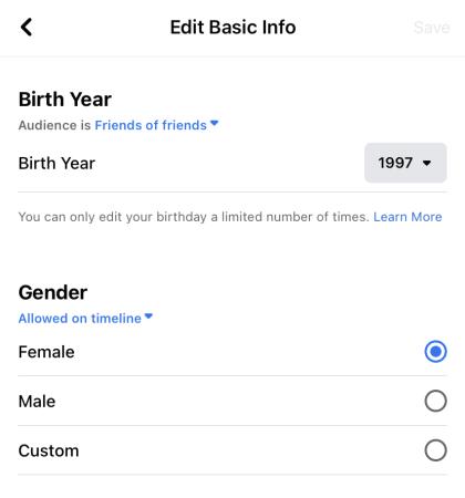 Choose a gender option