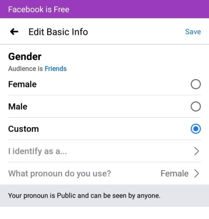 Scroll down and tap Gender option