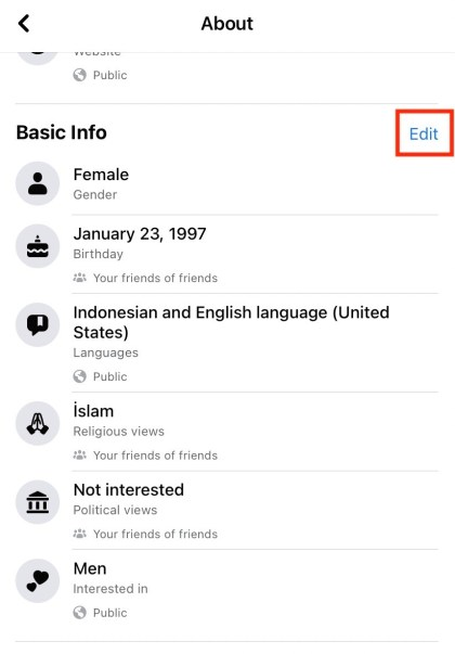 Scroll down to navigate to the Basic Info section