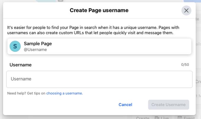 Select Create Page @username, then choose Create Username.