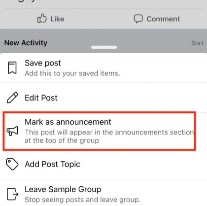 Tap the three-dot icon in the right of the post, then tap Mark as announcement