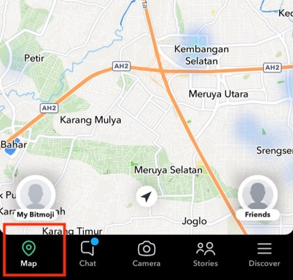Go to Snap Map by clicking the location icon