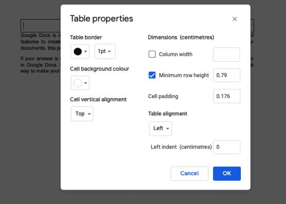 Change table border options